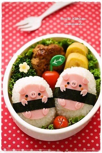 Fun Food Kids Piggies onigiri bento rice reis reisbällchen schweinchen schweine animals tiere kochschicken ham unterwegs