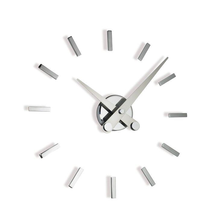 nomon - Puntos suspensivos Wanduhr mit 12 Stundenzeichen, Chrom / Stahl Chrom