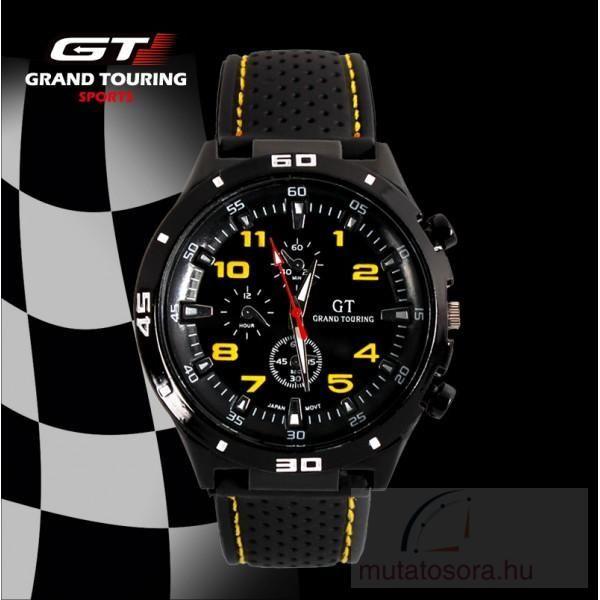 GT Touring Sport Fekete Férfi karóra Szilikon Szíjjal