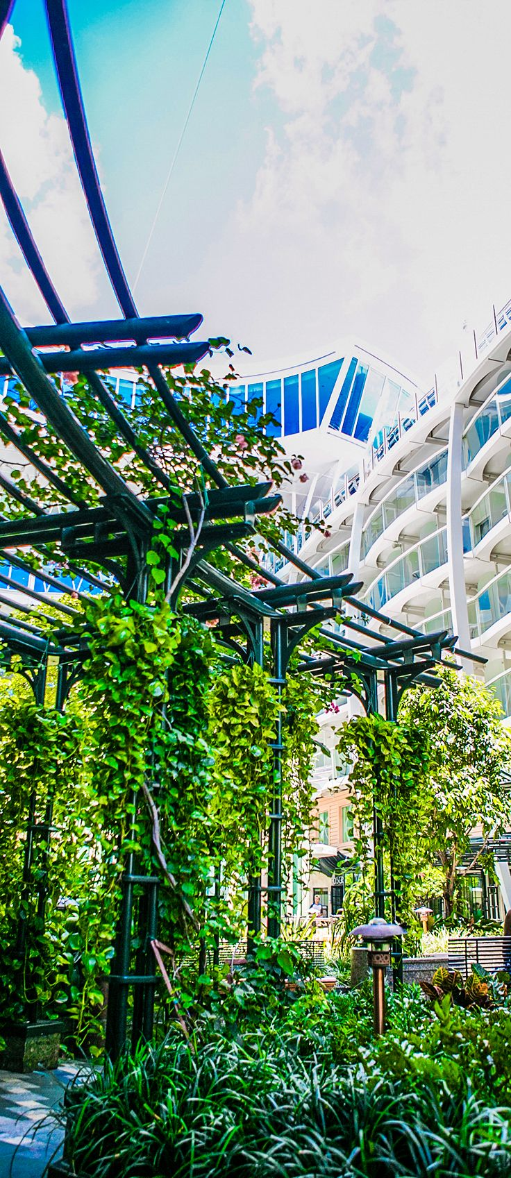 Bringing the outdoors in. Oasis of the Seas is home to the first urban park onboard a ship, complete with winding pathways and canopy trees.