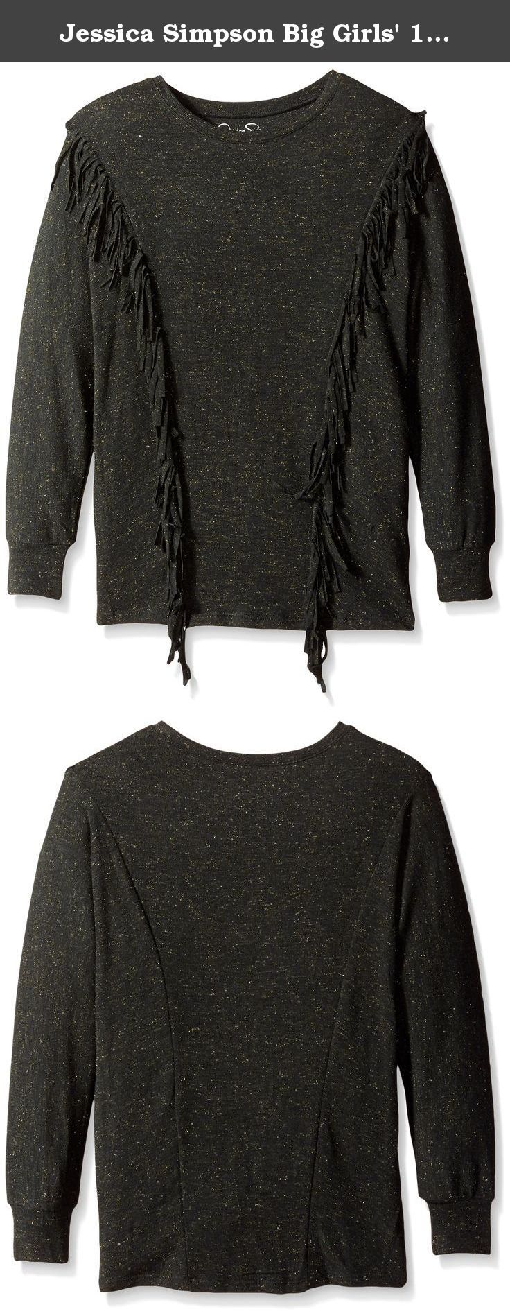 Jessica Simpson Big Girls' 10Th Ann Katie Ls Top Girls 6P- Black, Medium. Part of the Jessica Simpson 10th anniversary collection this pullover sweatshirt features fringe detail with an oversized body.