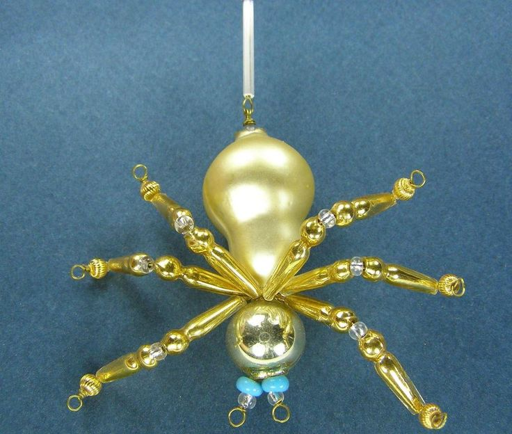 """Old Blown Hollow Glass Beads Wired Czech Christmas Decoration Golden Spider 3"""""""