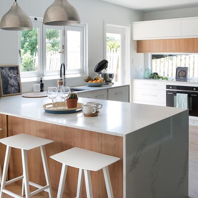 Design, style, function and the perfect colour palette is the homely addition to this luxurious makeover for a growing family @kitchentrendsau @polytec. Doors and Panels in Tasmanian Oak Woodmatt and Crisp White Legato (Super Matt).