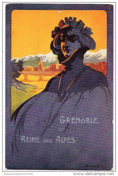 CPA CARTE 38 GRENOBLE ILLUSTRATEUR ANDRY FARCY REINE DES ALPES FEMME CONCOURS DE TIR JUIN 1911 PETIT DAUPHINOIS