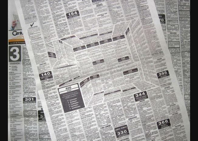 Crazy 3-D Newspaper Ad Brilliantly Hides a Whole Kitchen Inside a Classifieds Page | Adweek