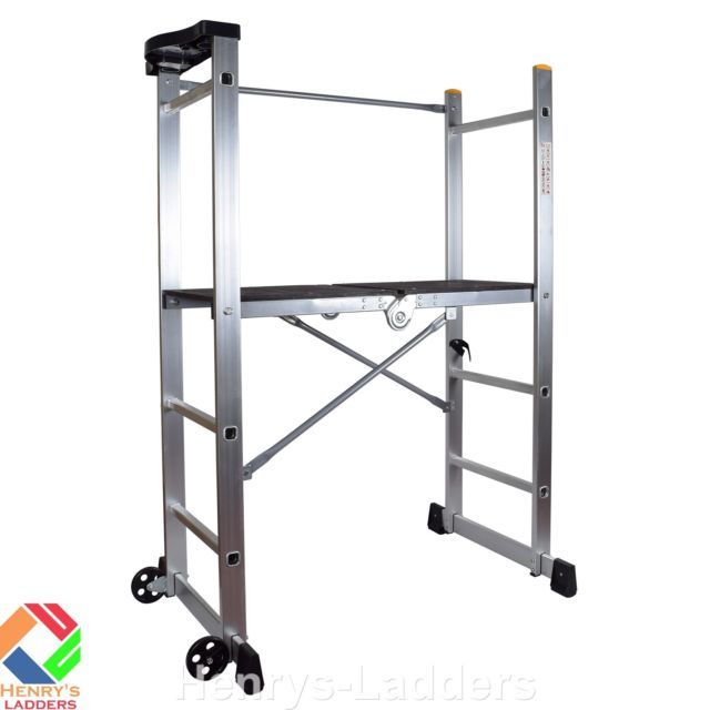 Henry's Folding Scaffold Platform Ladder - with Wheels, Stabilisers & Tool Tray