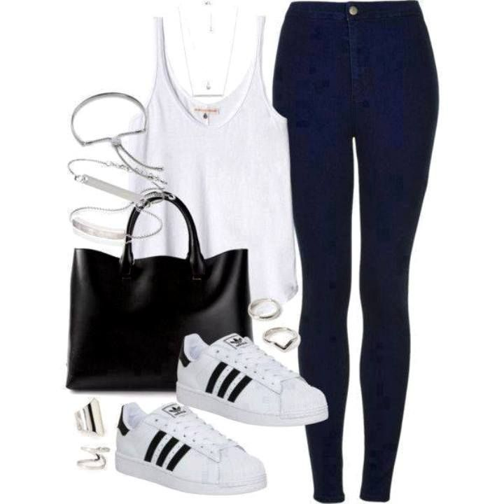 White top+high waist dark jeans+white sneakers+black tote bag+jewelery. Spring/Summer outfit 2016