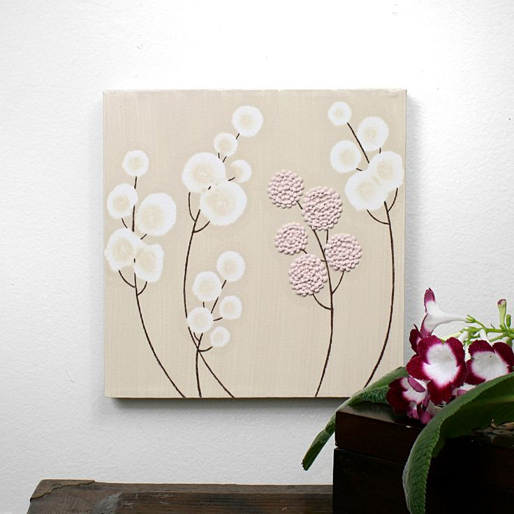 ivory colored canvas art | ... Painting - Original Acrylic - Small 10X10 Pink and Brown Canvas Art