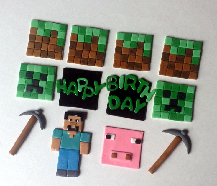 Minecraft cupcake toppers Gotta prep for Charlies Bday in November