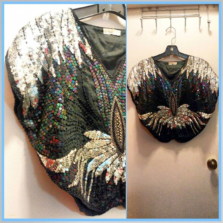 70s hand beaded sequin butterfly top, made in India.  Size S-M with an oversized fit.