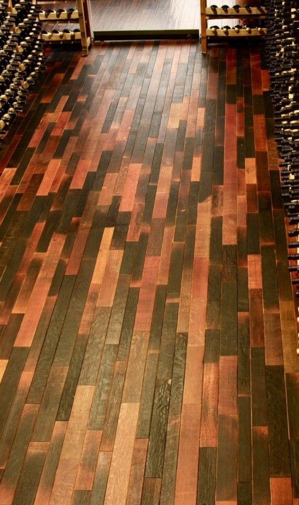 Wine-barrel wood flooring @ Reclaimed Design Works Denver
