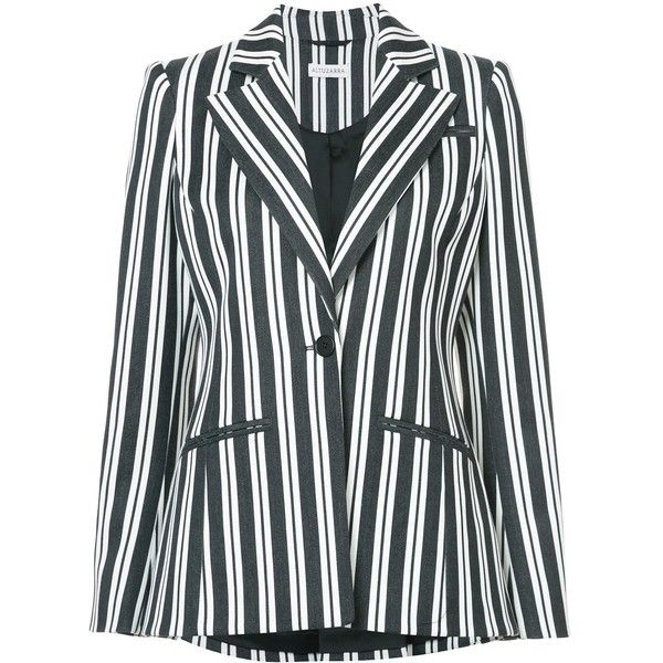 Altuzarra Acacia Deep V Blazer ($1,895) ❤ liked on Polyvore featuring outerwear, jackets, blazers, august must haves, kirna zabete, kzloves /, black and white stripe blazer, black and white blazers, white and black blazer and black and white stripe jacket