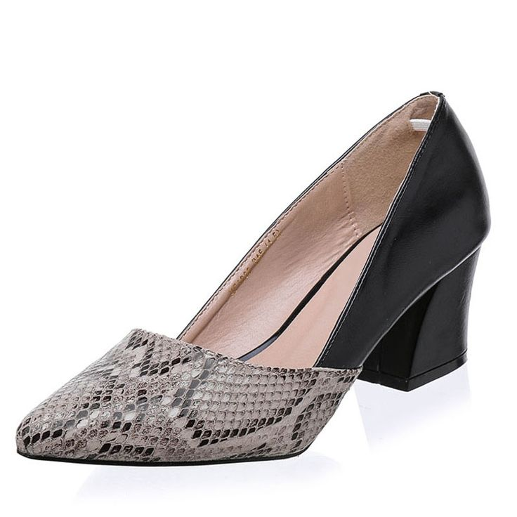 46.52$  Buy now - http://alif7v.worldwells.pw/go.php?t=32778895315 - Snakeskin Pattern Women Pumps Sexy Pointed Toe Microfiber Leather High Heels Shoes Woman Zapatos Mujer Tacon 46.52$