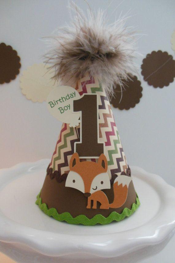 Lil Fox Woodland Birthday Party Hat by SandysSpecialtyShop
