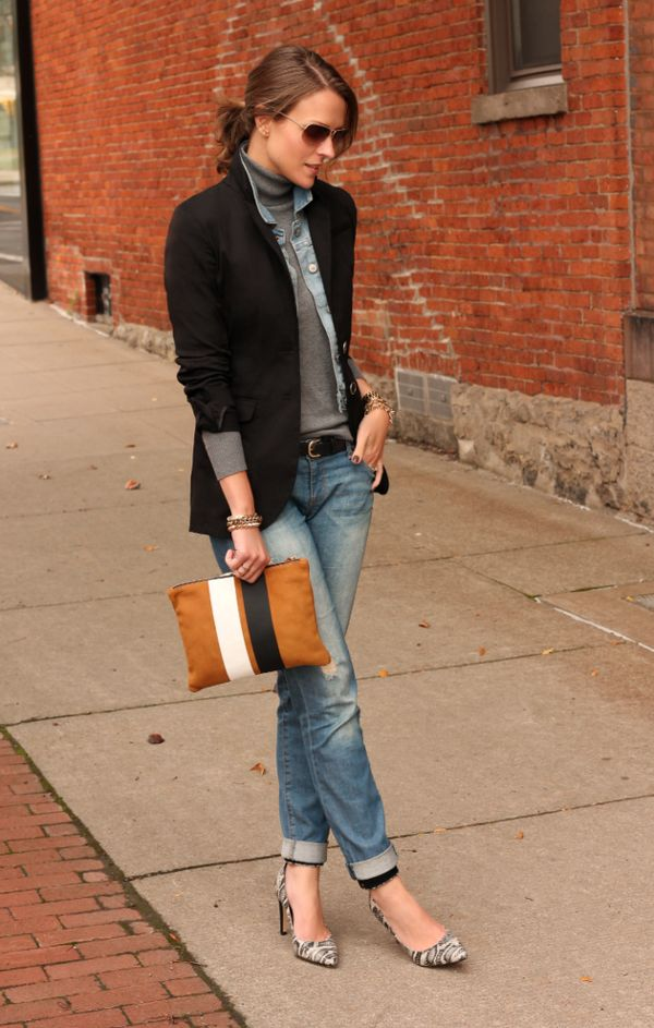 ジャケットも加えた秋冬デニム on デニム♡ 秋冬ファッションにおすすめのおしゃれなデニムパンツコーデ。