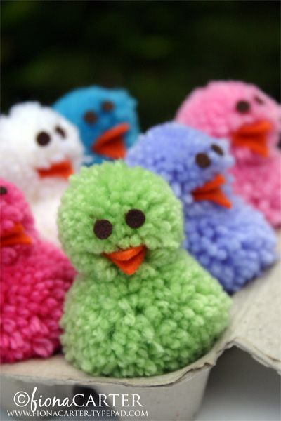 Easter Pom Pom Chicks - yes these too will find a home in our home...