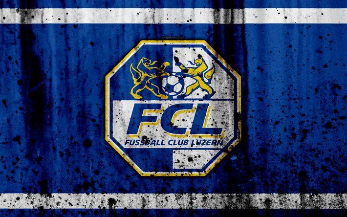 Download wallpapers FC Luzern, 4k, logo, stone texture, grunge, Switzerland Super League, football, Luzern emblem, Lucerne, Switzerland