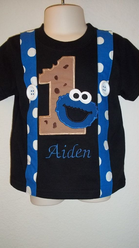 Blue Monster With Cookie Suspender Shirt In Black Shirts
