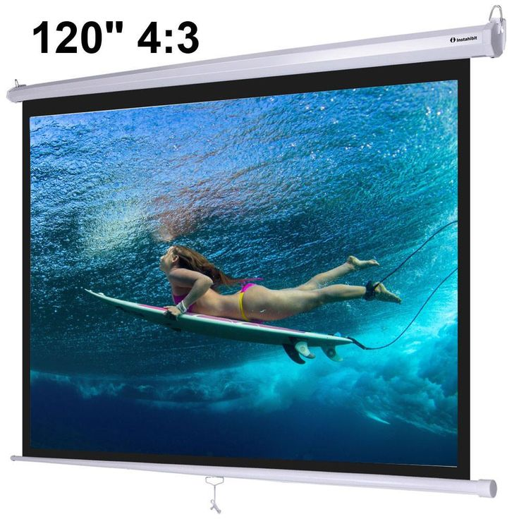 "Instahibit™ 120"" 4:3 Manual Pull Down Ceiling Projector Screen"
