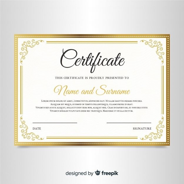 Elegant Certificate Template With Orname Free Vector Freepik Freevector Fr In 2020 Certificate Design Template Certificate Templates Free Certificate Templates