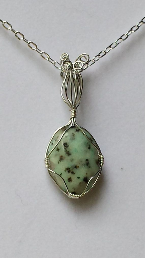 Sesame Jasper  Pendant  Wrapped in Silver Finish Wire