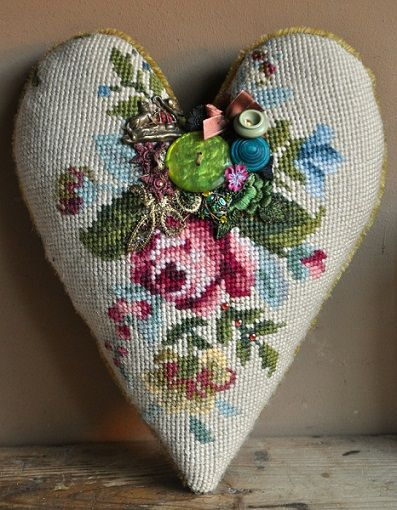 needlepoint heart finished as pillow with button embellishments