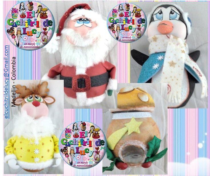 Tarritos utilitarios para Navidad: reno, honguito, pingüino, santa.  Elaborado por ElCuchitril de Lucy  https://www.facebook.com/ElCuchitrildeLucy