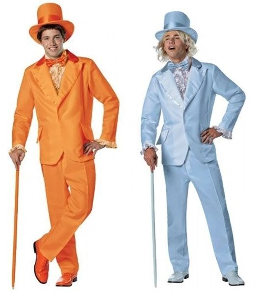 Lloyd and Harry Dumb & Dumber Costumes  Be the best dressed guy to ever admire a pair of hooters at an Endangered Owl benefit in one of these Officially Licensed Dumb and Dumber Harry tuxedo. This is one handsome look that will never go out of style!  Each Costume Includes:  Jacket, Pants, Hat, Dickey, and Cummerbund.  Shoes and cane are NOT included!  One Size Fits Most Adults  Your choice of Harry (Blue Suit) or Lloyd (Orange Suit).