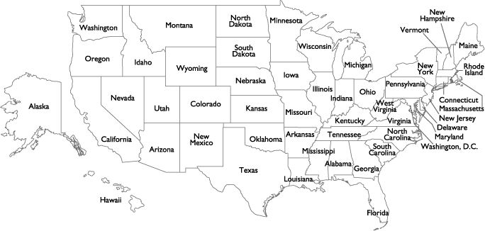 usa outline map labeled with states | usa state names