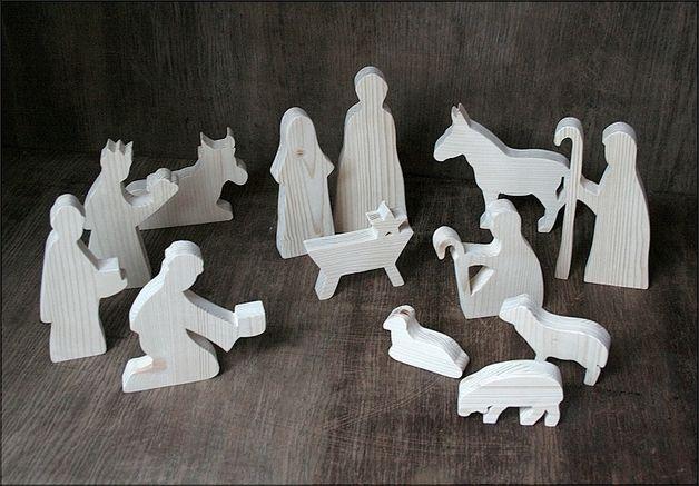 Weihnachtsdeko - Krippenfiguren aus Holz 13teilig - ein Designerstück von Letterjan bei DaWanda
