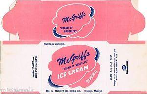 Vintage Box Mcgriffs Ice Cream Dated 1948 Brooklyn Michigan Unused N Mint Cond | eBay