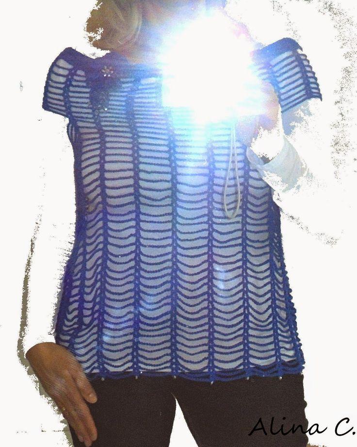 """lo spazio di lilla: Facciamo insieme... Il top all'uncinetto """"AriaBlu"""" con il filato Galassia di Adriafil / Let's make together...The """"AriaBlu"""" summer top, crocheted with Galassia Yarn by Adriafil"""