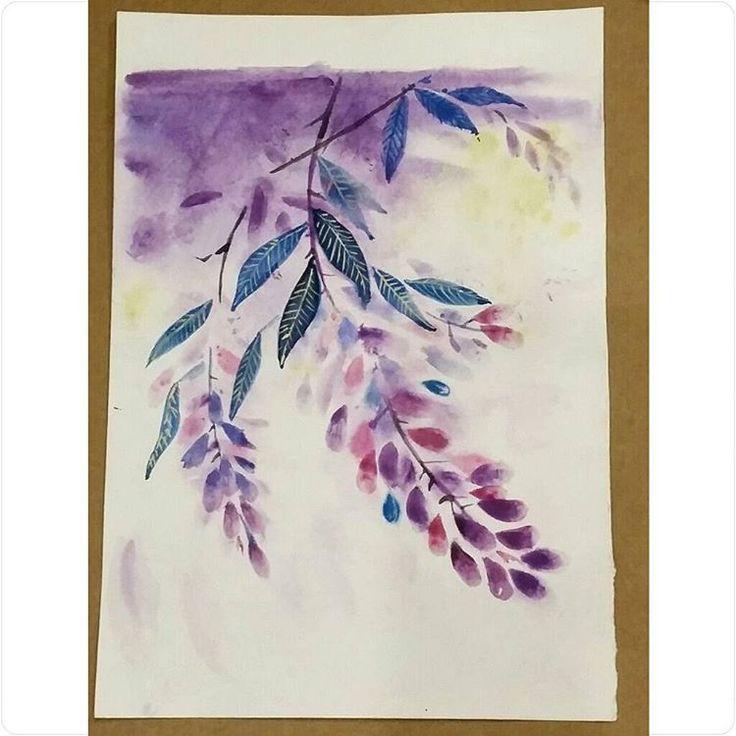 «#watercolorpainting #watercolor #landscape #night #акварель #рисовашки #рисунокакварелью #рисунок #ярисую #рисовашки #instaart #leaves #flowers»