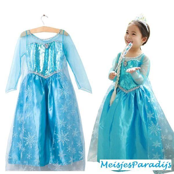 Frozen jurk prinses Elsa met sleep en broche