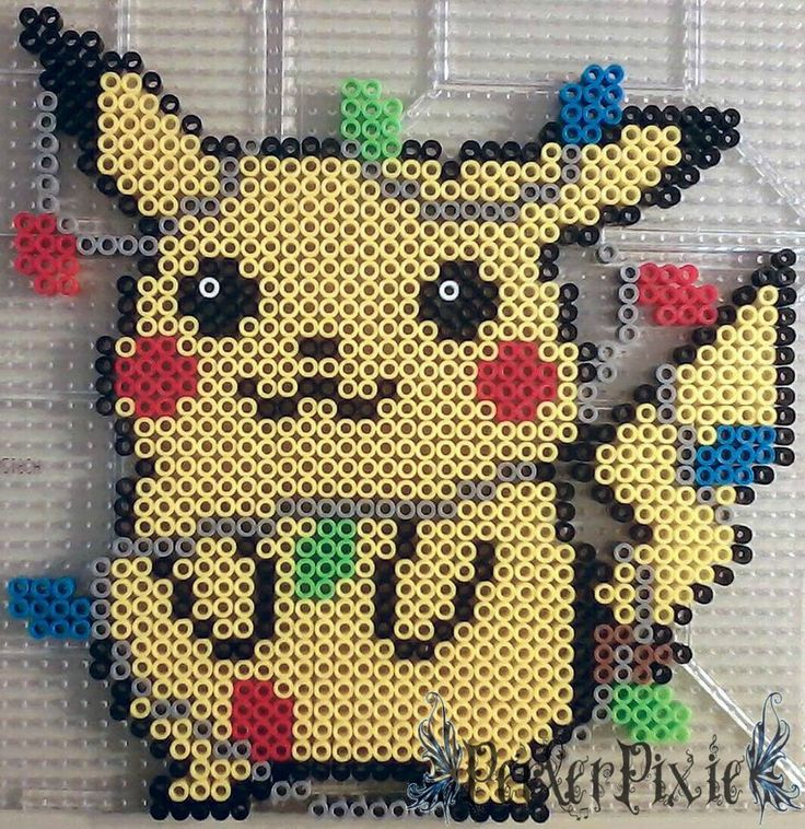 Pikachu Christmas perler beads by PerlerPixie on DeviantArt