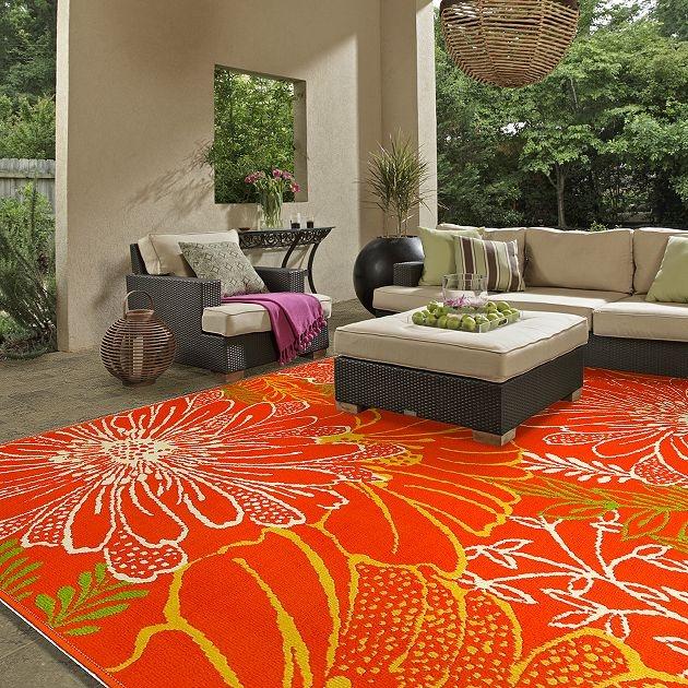Arearug Daisies 3k384 Tangerine Flooring By Shaw Outdoor Area Rugsoutdoor Decorindoor
