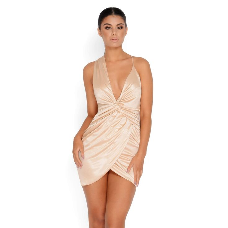 Satin Dress in Nude | Going Out Dresses