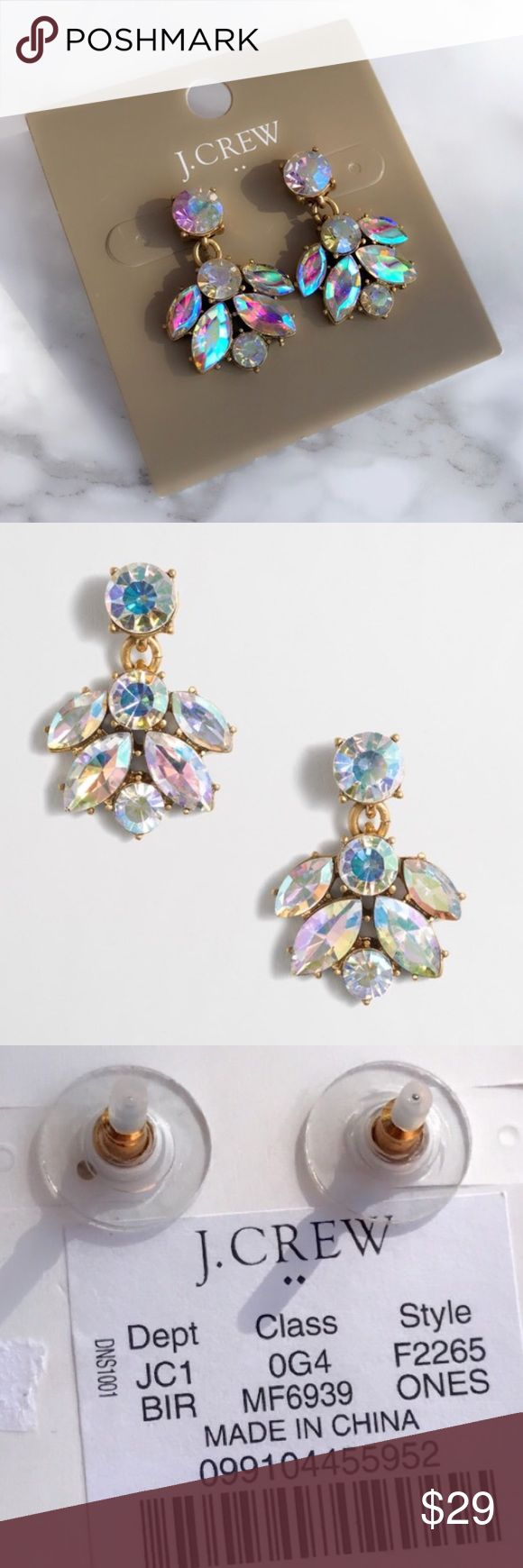"J Crew Iridescent Crystal Cluster Drop Earrings Zinc, epoxy and glass stones. Light gold ox plating. 1""L x 3/4""W. Import. J. Crew Jewelry Earrings"