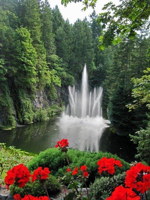 Waterfall Butchart Gardens Victoria British Columbia