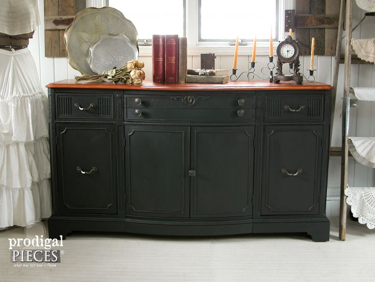 Vintage Buffet Gets Black Paint and Cherry Stain Makeover by Prodigal Pieces | www.prodigalpieces.com