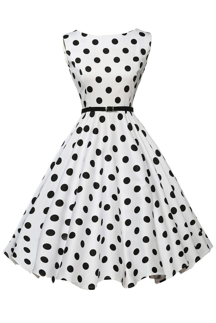 Stylish 50's Retro Black Polka Dot Swing Dress in White