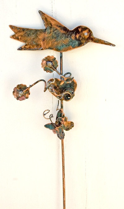 Hummingbird garden stake copper metal outdoor patio yard for Hummingbird decor
