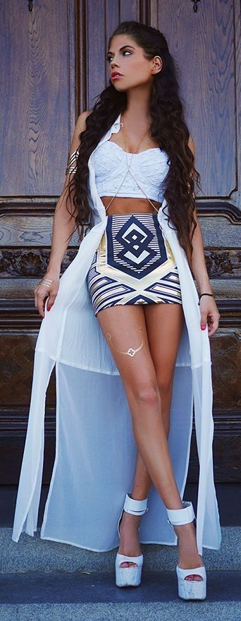 #ethnic #trend #outfitideas |  All White + Ethnic Sequin Mini Skirt