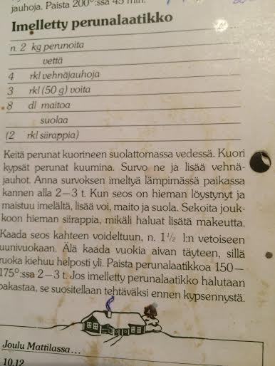 """Perunalaatikon ohje legendaarisesta Valion """"Tervetuloa joulu!"""" -kirjasta"""