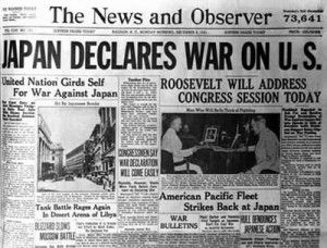 "♥~12/7/2012 - Pearl Harbor Day (1941) ""A date that will live in infamy,"" 200 Japanese aircraft attacked Pearl Harbor, Hawaii, long considered the US ""Gibraltar of the Pacific."" The raid, which lasted little more than one hour, left nearly 3,000 dead. The attack on Pearl Harbor forced the United States into WWII, a declaration of war was requested by President Roosevelt, and approved by Congress December 8, 1941."