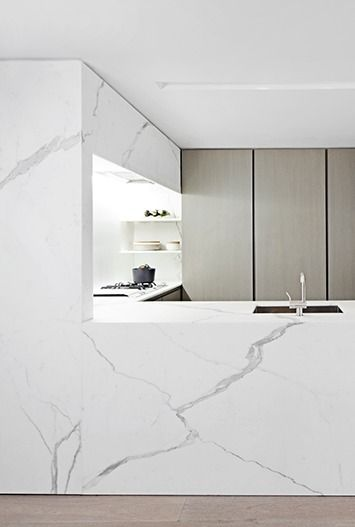 White Calacatta marble kitchen. The Templer Townhouse in New York by Workshop for Architecture.