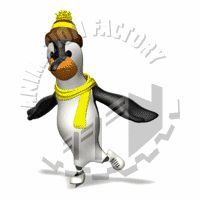 Penguin Ice Skating Animated Clipart