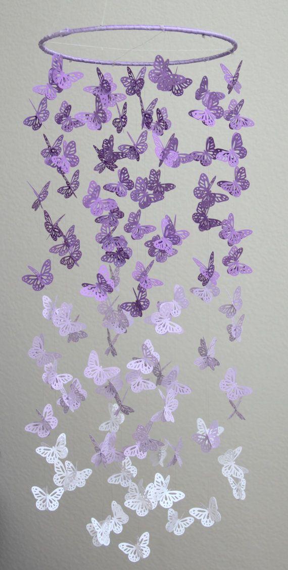 Lavender Butterfly Chandelier, Purple Lavender White Butterfly Mobile, Butterfly Chandelier,Butterfly Mobile,Nursery Mobile,Baby Girl Mobile