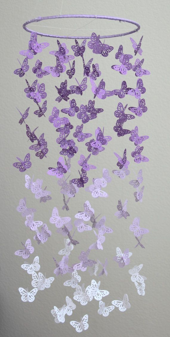 Lavender Butterfly Chandelier, Purple Lavender White Butterfly Mobile, Butterfly Chandelier,Butterfly Mobile,Nursery Mobile,Baby Girl Mobile