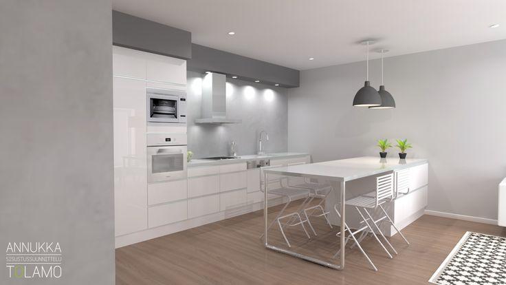 Sisustussuunnittelu Annukka Tolamo / 3D-mallinnus keittiö 1 / Remonttikohde